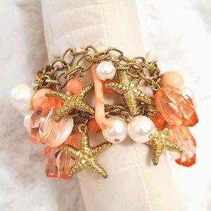 Goldtone•faux pearls•starfish•peach acrylic•shells